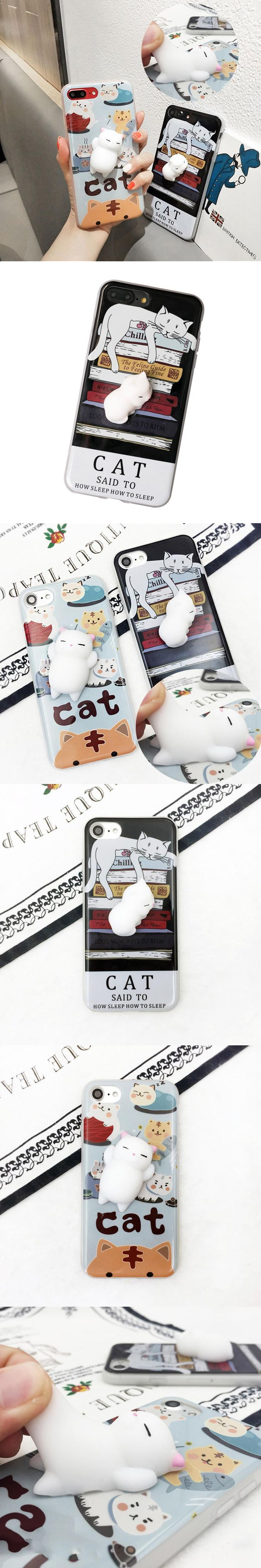 Girl Gift Cute Lovely Soft Silicone Cat Case For iPhone 6 6S 6 Plus 7 7 Plus Case On 5 5S SE Decompression TPU Back Cover Case