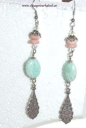 Earrings with Amazonite beads from designverkstad.se