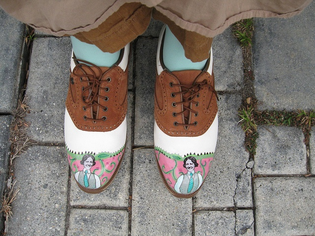 My first day wearing my new painted shoes (I thrifted the shoes, and decorated them with paint and collage).  Featuring the image of pilot Helen Richey, from Flickr Commons.