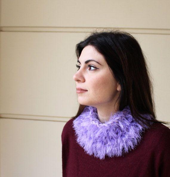Faux fur wrap Hand knit cowl snood Cowl snood by MariliartbyM