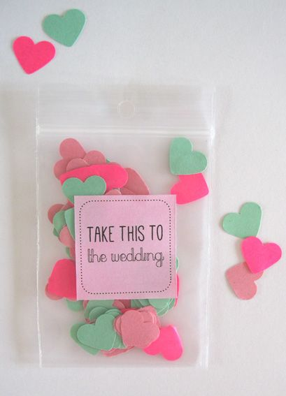DIY confettibags for a weddingcard. Made by Ontwerpland.nl