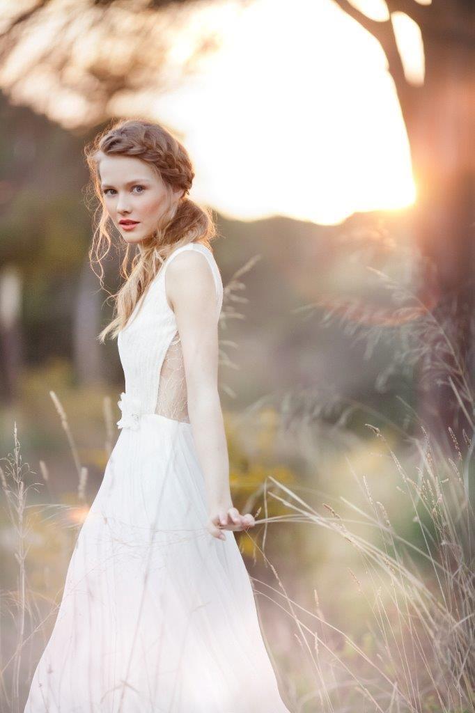 SADONI bridal 2015 - dress NINA draped in fluid silk chiffon and french lace with open lace back: www.sadoni.no