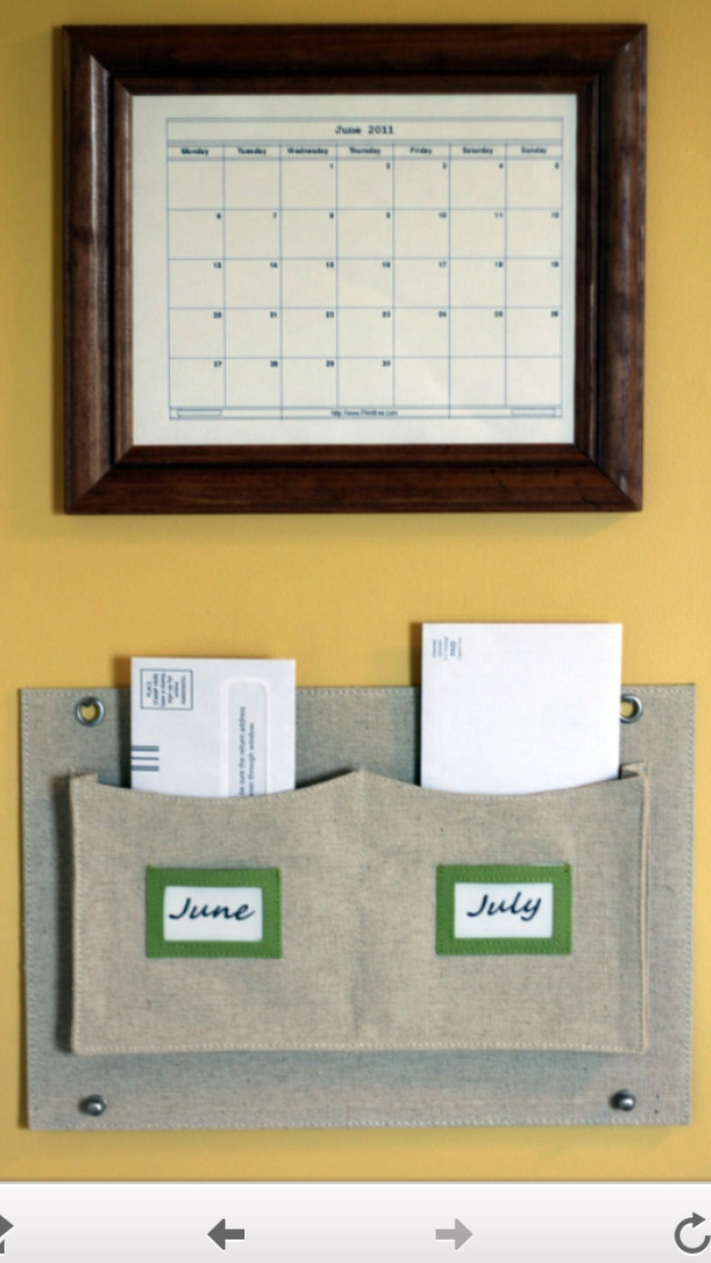 Smart and nice looking way to organize monthly bills!! You can even write on the calendar with dry erase and keep the current month and next month to keep bills on time...