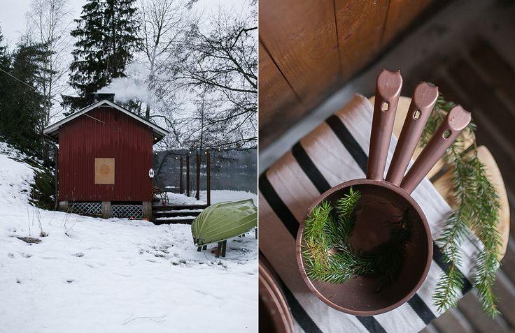 Orthex water scoops in copper colour     Joulusauna ja sen perinteet. Juhlantuntua puusaunaan tuotiin kuparinvärisillä pesuvadeilla ja saunasangoilla. Joulun tuoksua taasen loihdittiin kuusenhavuista tehdyllä jalkakylvyllä.