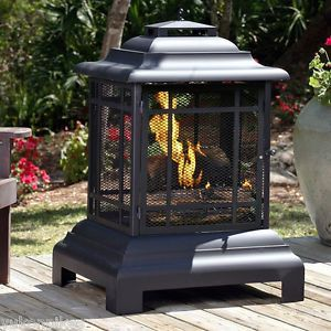 Pagoda Outdoor Patio Deck Fire Pit Wood Fireplace