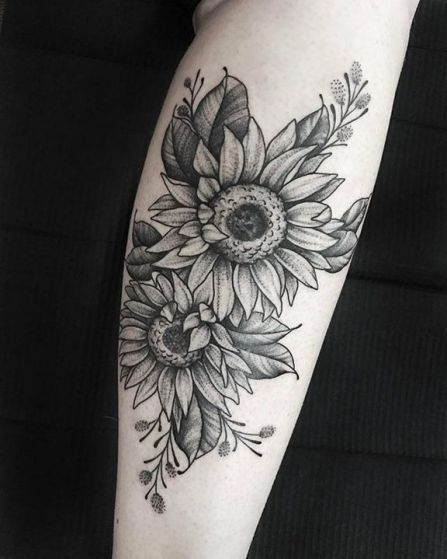 Stippling Tattoo Sleeves: 36+ Getting Smart With Sunflower Tattoo Sleeve Forearm 34