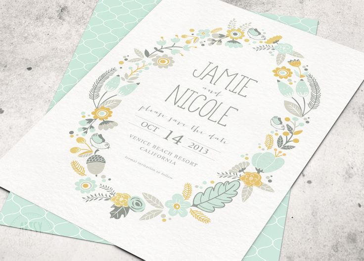 bohemian mint & mustard save the date card