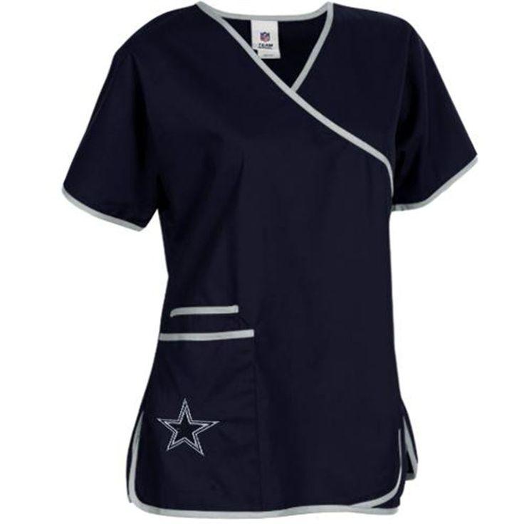 Dallas Cowboys Ladies NFL Mock Wrap Scrub Top - Navy Blue @txbabygirl85