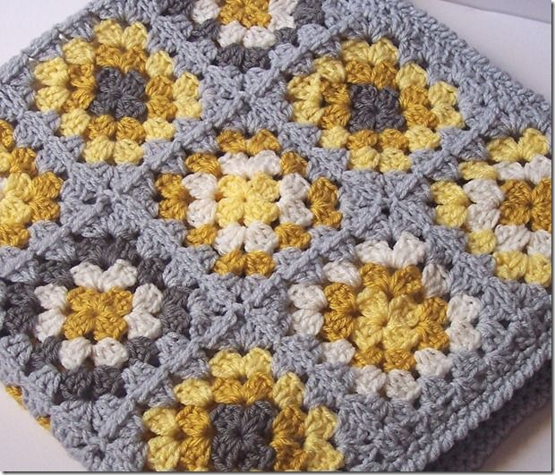 Yellow & Gray Granny Square Blanket.  Would look great mixed in with this season's yellow and grey West Elm collection.