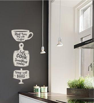 Leuke muursticker om je keuken mee te stylen, de onderdelen kunnen ook los worden geknipt voor montage om deze zo willekeurig naar eigen smaak op de plakken.