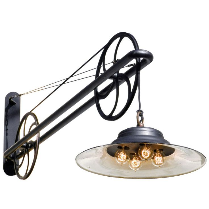 Large pulley Industrial Swing Arm Lamp | Another great pulley lamp from 1stdibs ~ at https://www.1stdibs.com/furniture/lighting/sconces-wall-lights/