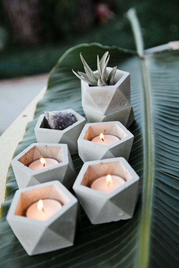 Stackable Concrete Geometric Tea Light Candle Holder and Catch All Vessel | Concrete Geometric