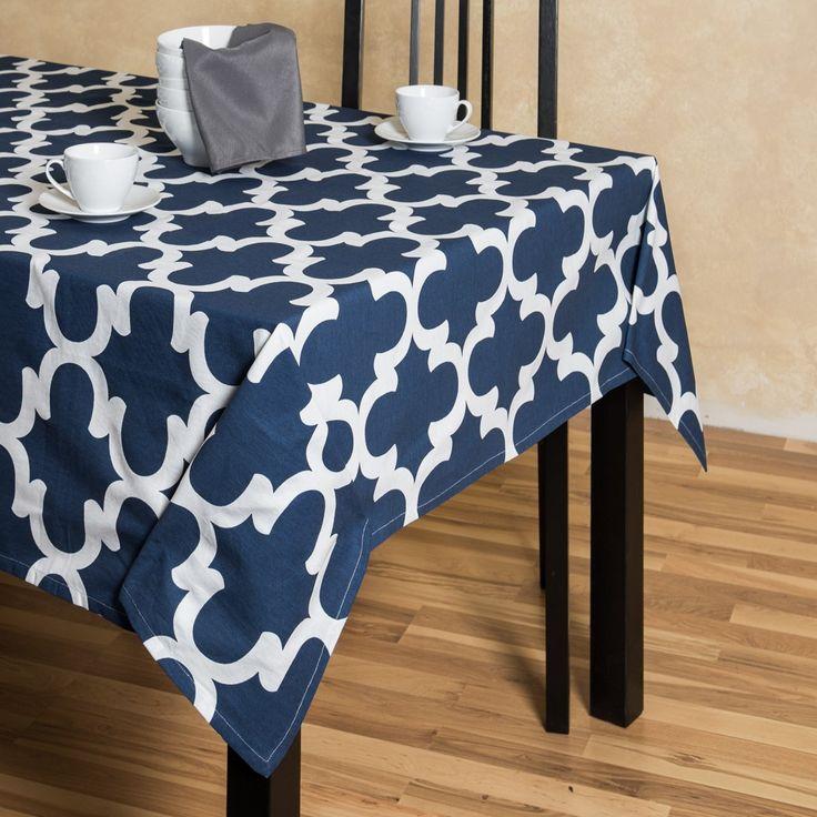 Navy Blue And White Trellis Rectangular Cotton Tablecloth 60 X 126 Inches