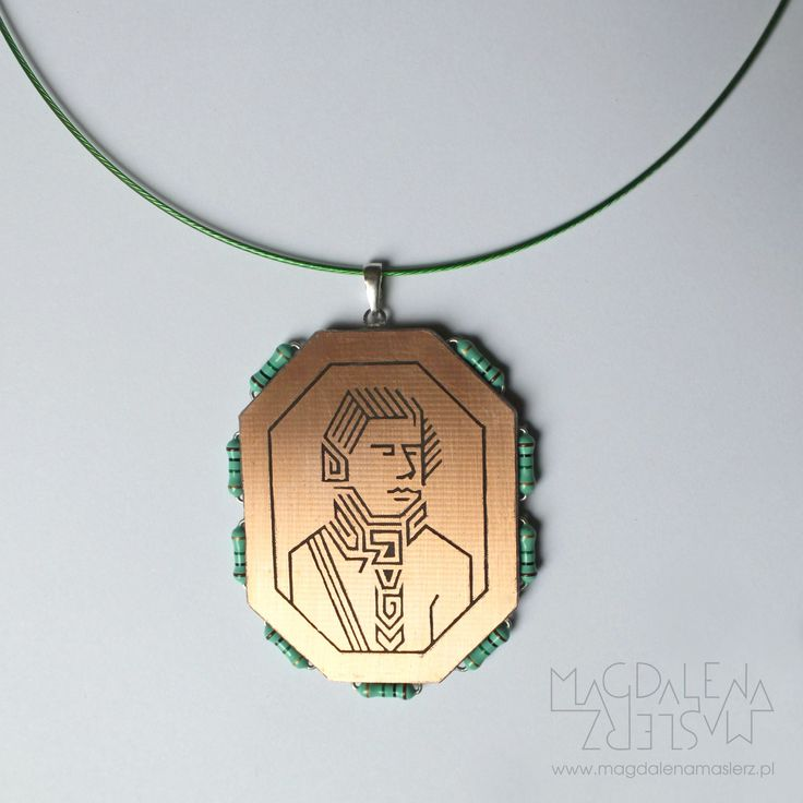 magdalena maślerz - 19th century portrait transposed to PCB language. the technique of producing electronic components was used (acid etching). around the cameo there are resistors. 2011