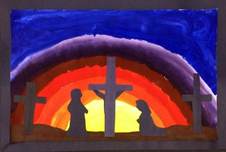 5th Grade - Easter Crucifixion Silhouette - Emphasis - Tempera, construction paper