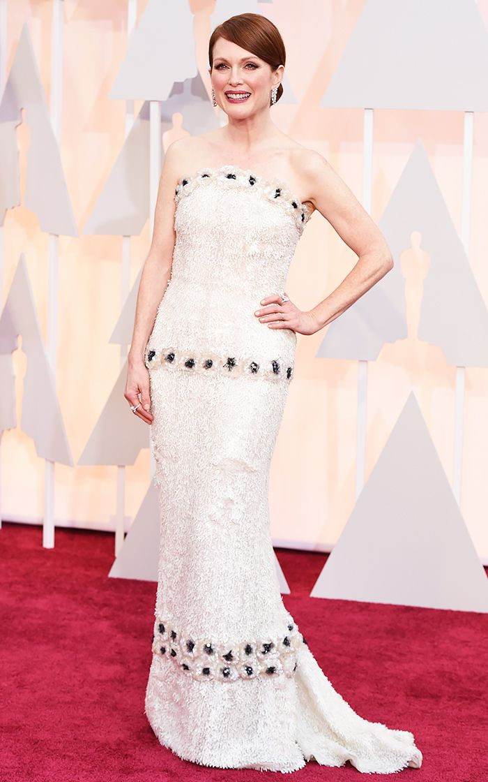 Julianne Moore in an embellished, textured, white, strapless custom Chanel gown at the 2015 Oscars