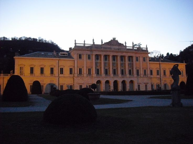 The huge Villa Olmo in Como at sunset