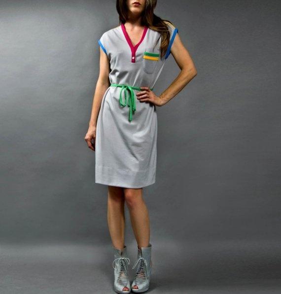 SUNSHINE ALLEY. 1980s color block grey Vintage dress