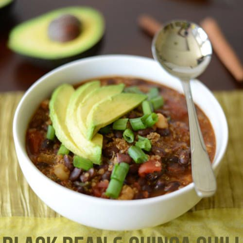 Black Bean and Quinoa Chili- Made this last week,was fast and easy! I also added a jalapeno for a little more spice!
