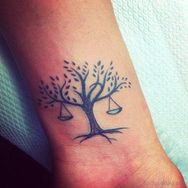 Tree Shape Libra Tattoo On Wrist
