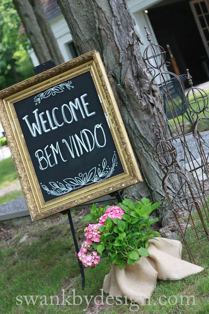 The groom is Brazilian, so we created a welcome in two languages | Wedding at Weathervane Farm in Hamilton, NY | swankbydesign.com | photo by Katie Chlad Photography
