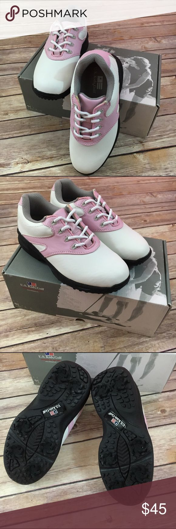 US Kids Golf Pink White Saddle Shoes 1 New New, in box is this great pair of girls US Kids Golf Swing-Right golf shoes.  Saddle style and so cute.  Great for your aspiring golfer!  #uskidsgolf #golf #golfpro #golfshoes #pinkandwhite #saddleshoes #new #nwt US Kids Golf Shoes