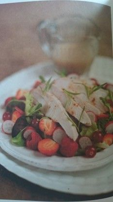BEJEWELLED SMOKED CHICKEN SUMMER SALAD RECIPE  You don't just have to save your berry harvest for pudding, try adding them to a salad for an extra tart/sweet flavour. It's up to personal taste which ones you use, but this is my favoruite combination