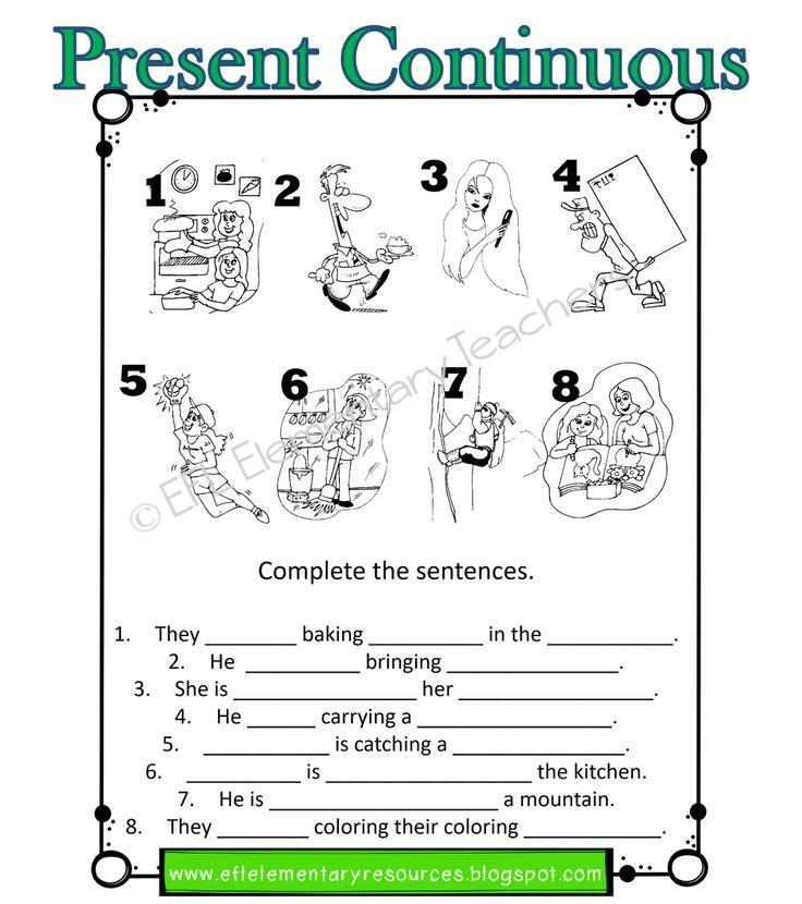 ESL Present Continuous Worksheets Present continuous