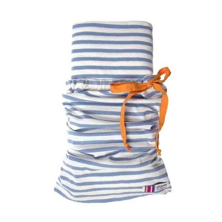 blue & white striped {organic} crib sheets