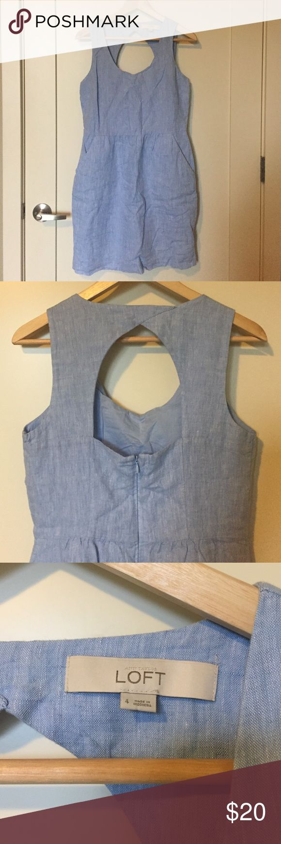 Chambray Loft dress This dress is a baby blue linen chambray, with open back. It has pockets and zips up the back. It was only worn once! LOFT Dresses Mini