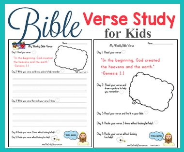 Simple Bible Verse Study for Kids