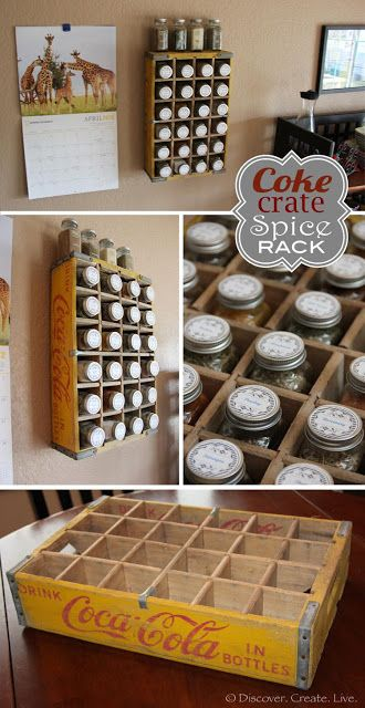 vintage industral rack | Spice Rack using a vintage Coke Crate via Discover Create Live