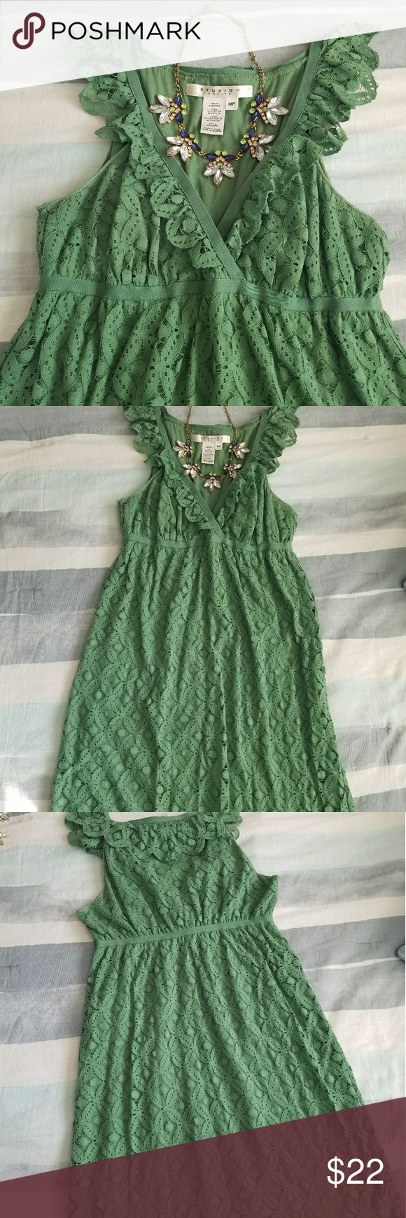 """Green Stretchy Lace Sundress size M Petite Purchased at Macys   Worn a couple times   Stretchy,  comfy fabric.    Petite dress, hits at the knee (and I am 5'4"""")  Perfect for summer parties!    Comes from a smoke free home   Bundle and save!    Necklace in pics not included Studio M Dresses"""