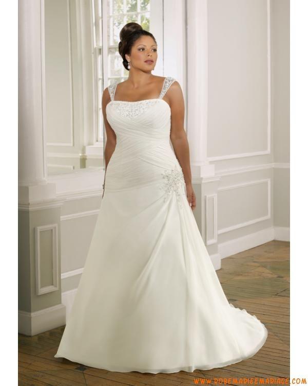 Robe A-ligne avec bretelles amovibles en satin et organdi ornée de plis et de perles robe de mariée grande taille