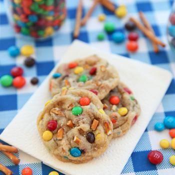 Salted Peanut Butter Pretzel M's Cookies