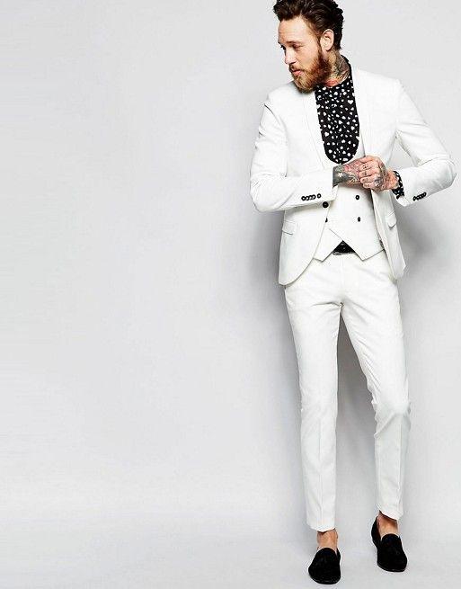 Белый стретчевый костюм суперзауженного кроя с шалевым воротником Noose & Monkey