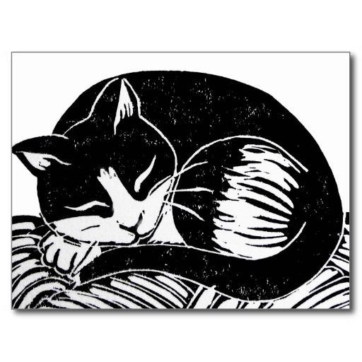Sleeping Tuxedo Cat Postcard; Abigail Davidson Art