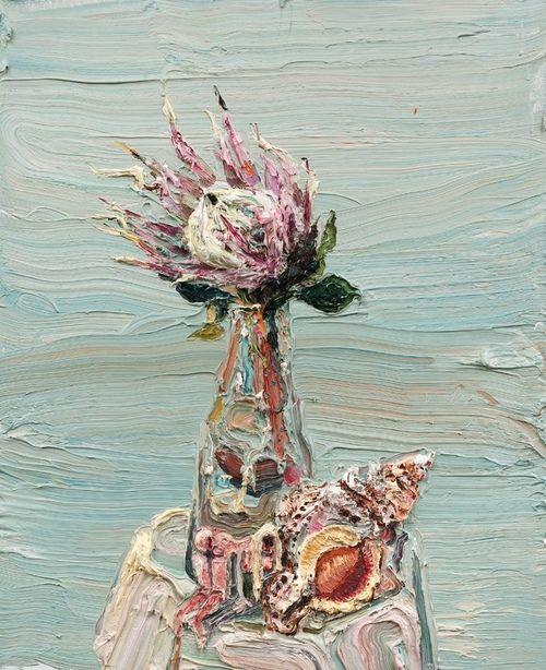 """darksilenceinsuburbia:  Allison Schulnik. Protea, 2012. Oil on canvas stretched over board, 30 x 24""""."""