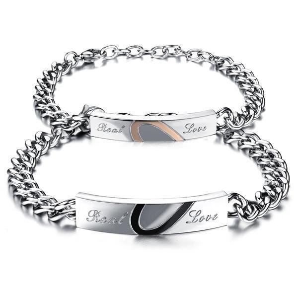 Love Couple Bracelet Stainless Steel Link Chain Bracelet Free Engrave Bracelet