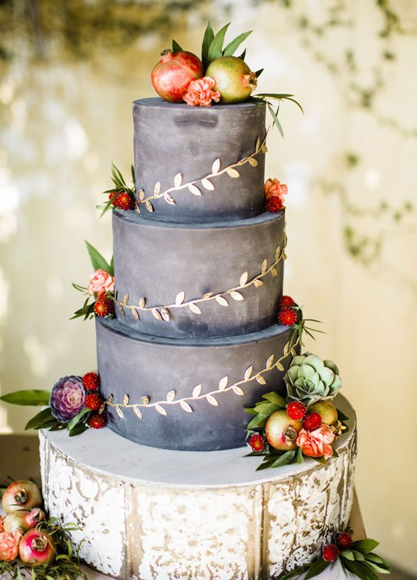 Brides Gray Rustic Fall Wedding Cake Topped