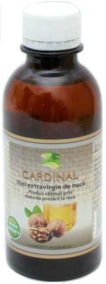 Ulei de nuca 200ml - 2e-prod.ro Bogat in acizi grasi polinsaturati (73-84%), acid linolenic, linoleic,oleic si cu un continut slab de acizi grasi saturati, acest ulei presat la rece extravirgin Cardinal de nuca este ideal in curele de protectie ale aparatului cardio-vascular. Uleiul de nuca are proprietati anticolesterolice mai mult chiar si decat uleiul de soia sau floarea - soarelui ( 50 - 60 % acizi) si decat cel de porumb (40- 50 % acizi).