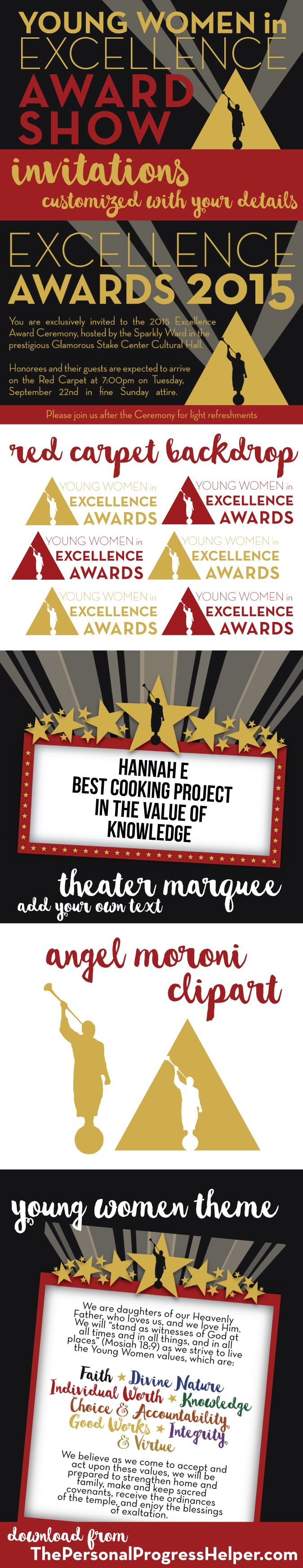 Young Women in Excellence printables for Red Carpet Award Show theme!