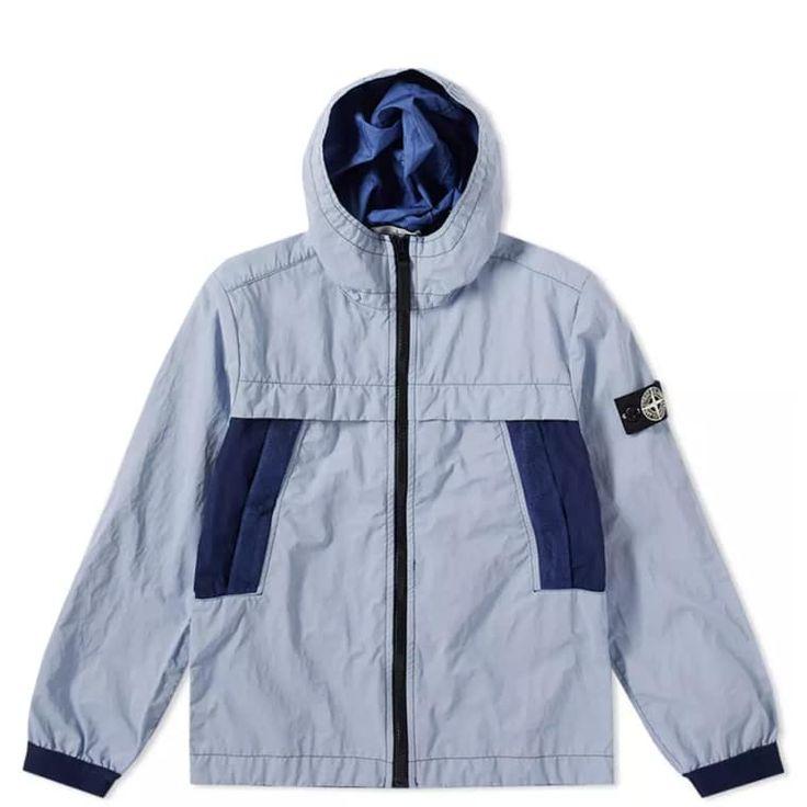 Stone Island Junior Plated Reflective Hooded Jacket (Marine) | END.