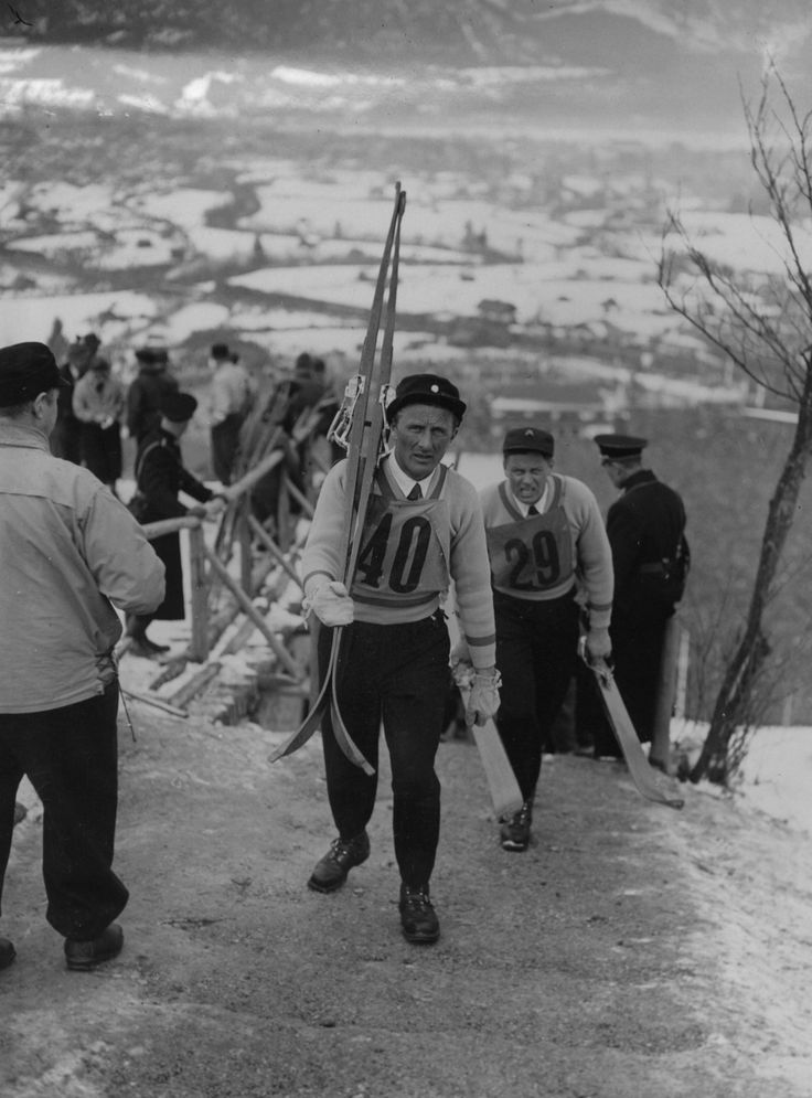 1936 Olympics, Garmisch-Partenkirchen, Germany. Swedish ski jumper Sven Eriksson.
