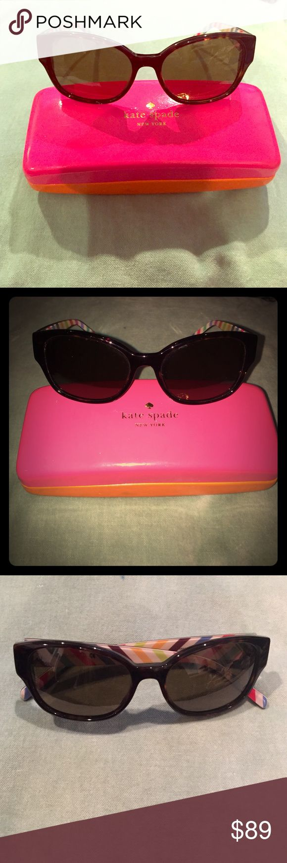 Kate Spade Polarized Sunglasses Adorable Kate Spade Polarized Sunglasses. Brown/Tortoise color with colorful striped pattern inside arms. Only worn a few times. Perfect for small face. kate spade Accessories Sunglasses