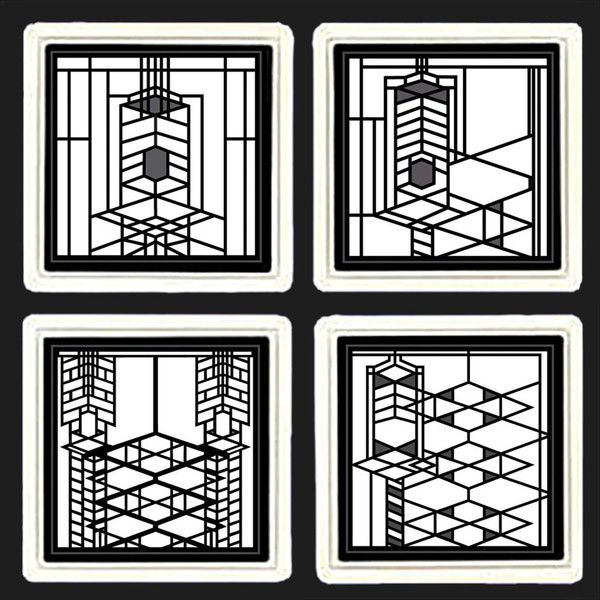 Frank Lloyd Wright Robie House Metal Insert Coasters 4