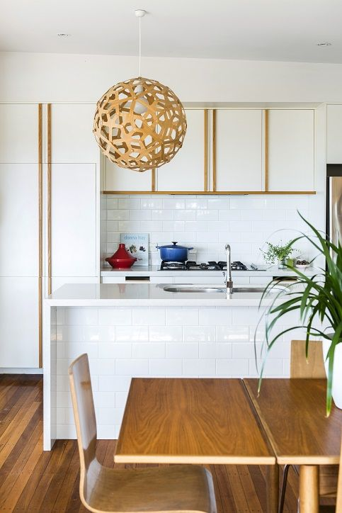 CG Design Studio. Adelaide St House. Kitchen. Timber & White. Trubridge coral light. Parker table. subway tile.