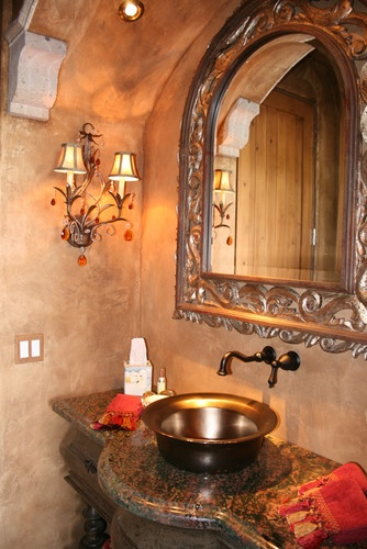 Mediterranean Spaces Half Baths Design, Pictures, Remodel, Decor and Ideas Love the sink & fixtures