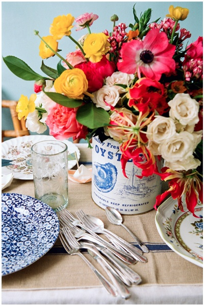 Upcycled Tin Cans Make Beautiful Floral Centerpieces ~ Extra bonus points if cans used compliment menu items!