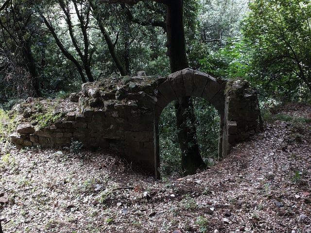 Italië, Ruïne, Poort, Oudheid, Bos, Mystiek